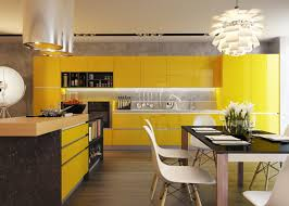 Yellow And Brown Kitchen Modern Style For Contemporary Kitchen Cabinet And Brown Chairs