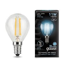 <b>Лампа Gauss</b> LED Filament <b>Шар</b> E14 11W 750lm 4100K 1/10/50 ...
