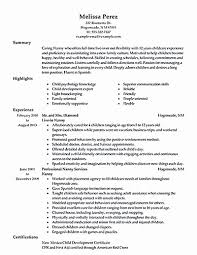 Nanny Resume Example Unique Sample Resume Nanny Housekeeper For Job