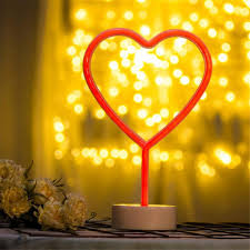 Room Decoration For Wedding Night With Lights Amazon Com L06 Night Light Neon With Base Heart Shaped