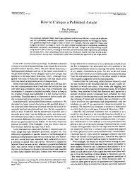 Pdf How To Critique A Published Article