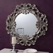 ornate silver round wall mirror