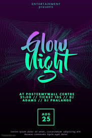 glow flyer glow disco party flyer template postermywall