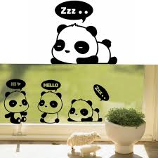 3pcs removable panda wall stickers home wall decals switch decor vinyl art e