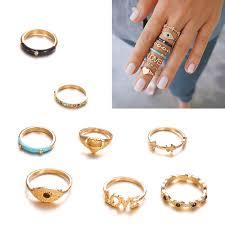 AUTU <b>8Pcs</b> Finger <b>Rings</b> Set Boho Evil Eye Love <b>Heart</b> Star Crystal ...