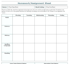 Student Assignment Planner Printable Student Assignment Planner Template College Student Planner