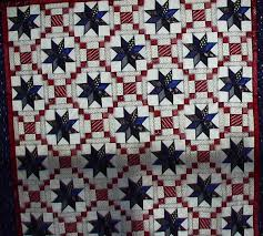 """Quilted Stars in Red, White and Blue – 24 Blocks & from: Faye Neff: """"I made this several years ago from a magazine pattern. 8  pointed stars are different navy fabrics and red and white blocks are  courthouse ... Adamdwight.com"""