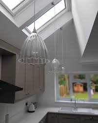 pitched ceiling lighting. Pitched Roof Lighting. Ribbed Ledbury Shades On Sloping Ceiling Lighting . L