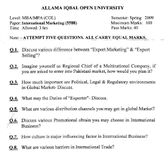 aiou col mba and mpa past papers 5588 international marketing spr 2009