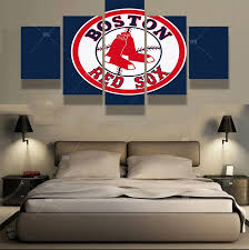 5 panels boston red sox sports team fans oil painting for living room wall art canvas modular pictures modern home decor artwork in painting calligraphy  on boston red sox canvas wall art with 5 panels boston red sox sports team fans oil painting for living