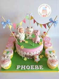 Cake Decorating Animal Figures Girly Farm Animals Birthday Cake With Edible Cow Donkey Pig And