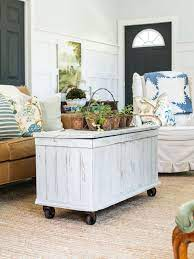 Product title pyramid trunk coffee table, mission style, multiple. Add Casters To An Antique Trunk For A Mobile Coffee Table Hgtv