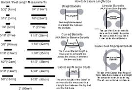 Barbell Length Chart Exhaustive Barbell Piercing Size Chart Body Piercing