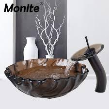 unique design wave side transpa basint tap washbasin glass hand painted 4188 1 lavatory bathroom sink bath mixer faucet