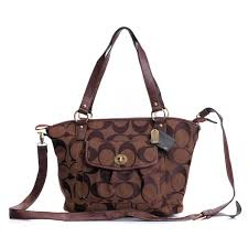 Perfect Coach Logo Signature Lock Medium Coffee Totes Dzw Sale UK wpKkl