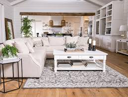 country rustic dining room with magnolia home homestead sofa