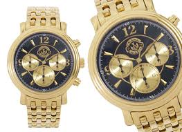 disney watches men s versailles chronograph gold plated mickey mouse watch