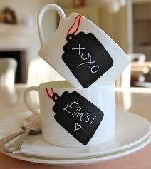 coffee mugs with chalkboard paint name tags diy projects