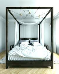 Canopy Bed Full Size White Four Poster Bed Modern 4 Poster Bed Four ...