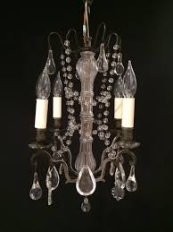 a small black patina and crystal chandelier picture 1