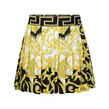 Young Versace Size Chart Young Versace Black Gold Baroque Pleated Skirt Versace