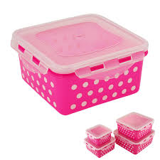 Airtight Storage Cabinet Locking Square Airtight Food Storage Container Set Of 8 Pink