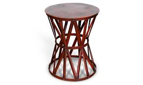 distressed industrial furniture. distressed industrial steel side table red architectural metal supports furniture a