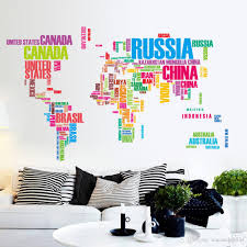 Small Picture Fashion Style Colorful Country Name World Map Wall Decor Sticker