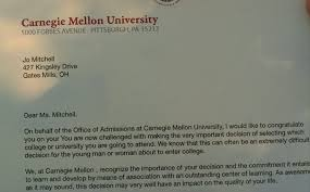 carnegie mellon acceptance letters robotics when jo receives the letter from carnegie mellon university the first