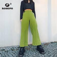 2019 <b>ROHOPO Woman</b> Wide Leg Pant Green Waist Metal Chain ...