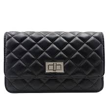 Quilted Bag Handbag Women Chain Bags Leather Shoulder Bag Black ... & Quilted Bag Handbag Women Chain Bags Leather Shoulder Bag Black Lock Adamdwight.com