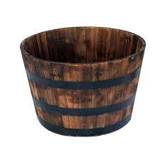 round wooden barrel planter