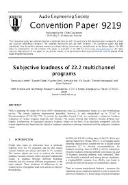 e library subjective loudness of multichannel programs