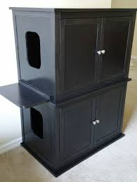 Wooden Litter Box Cabinets Stacked Double Odor Free Custom Hand Made In Usa Wood Cat