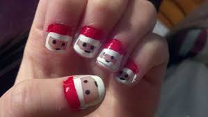 Santa Claus Face Christmas Nail Art For Short Nails