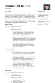 Sample Resume For Warehouse