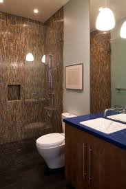 Colorful Mosaic Tile Walk-In Shower. shower without door