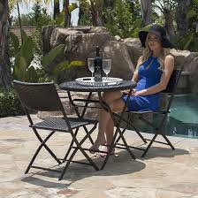 belleze folding table chair bistro set rattan wicker outdoor furniture seats resin 3 pc