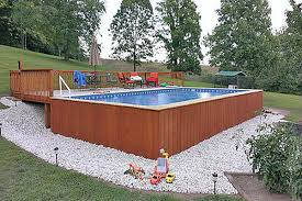 rectangular above ground pools. Simple Pools Phot Showing Aboveground Pool With Outside Wood Panels In Rectangular Above Ground Pools F