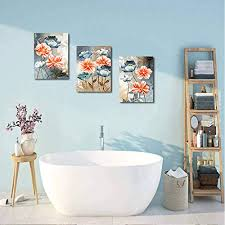 This area features a wall decoration that shows enough of the farmhouse feel. Farmhouse Wall Art For Living Room Family Kitchen Bedroom Decoration 3 Piece Bathroom Wall Decor Red Watercolor Flowers Farmhouse Goals