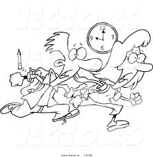 Small Picture Vector of a Cartoon Tardy School Boy and Girl Racing to Class