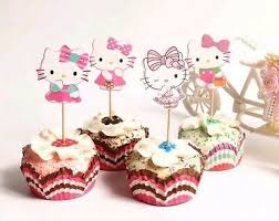 24 Pcs Hello Kitty Cupcake Toppers Cup Cake Decoration Birthday