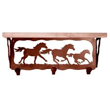 wild horses coat rack with shelf 20 inch