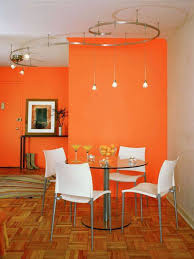 simple pendant lamp round glass dining table white acrylic dining chair orange dining room wall ceiling decorative lamp terminal laminated floor table