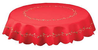 holly vines red embroidered round tablecloth