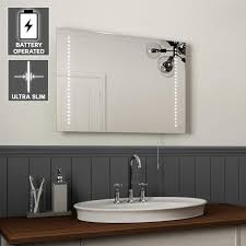 battery operated led bathroom mirror