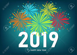 2019 Happy New Year Greeting Card On Blue Background With Colorful ...