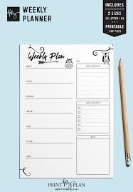 Weekly Planner Owl Weekly Planner Black White Planner Weekly Planner Weekly Agenda Planner Inserts Printable Planner Sku Pmp002d9