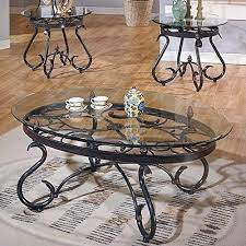piece coffee table set in dark brown