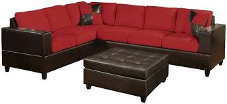 bright colored couch this plush two piece sectional sofa includes two throw pillows bright red microfiber upholstery bright coloured sofa beds